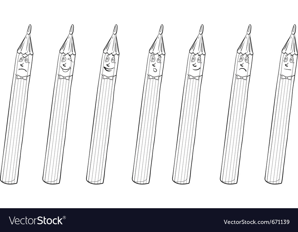 Pencils smilies contours vector | Price: 1 Credit (USD $1)