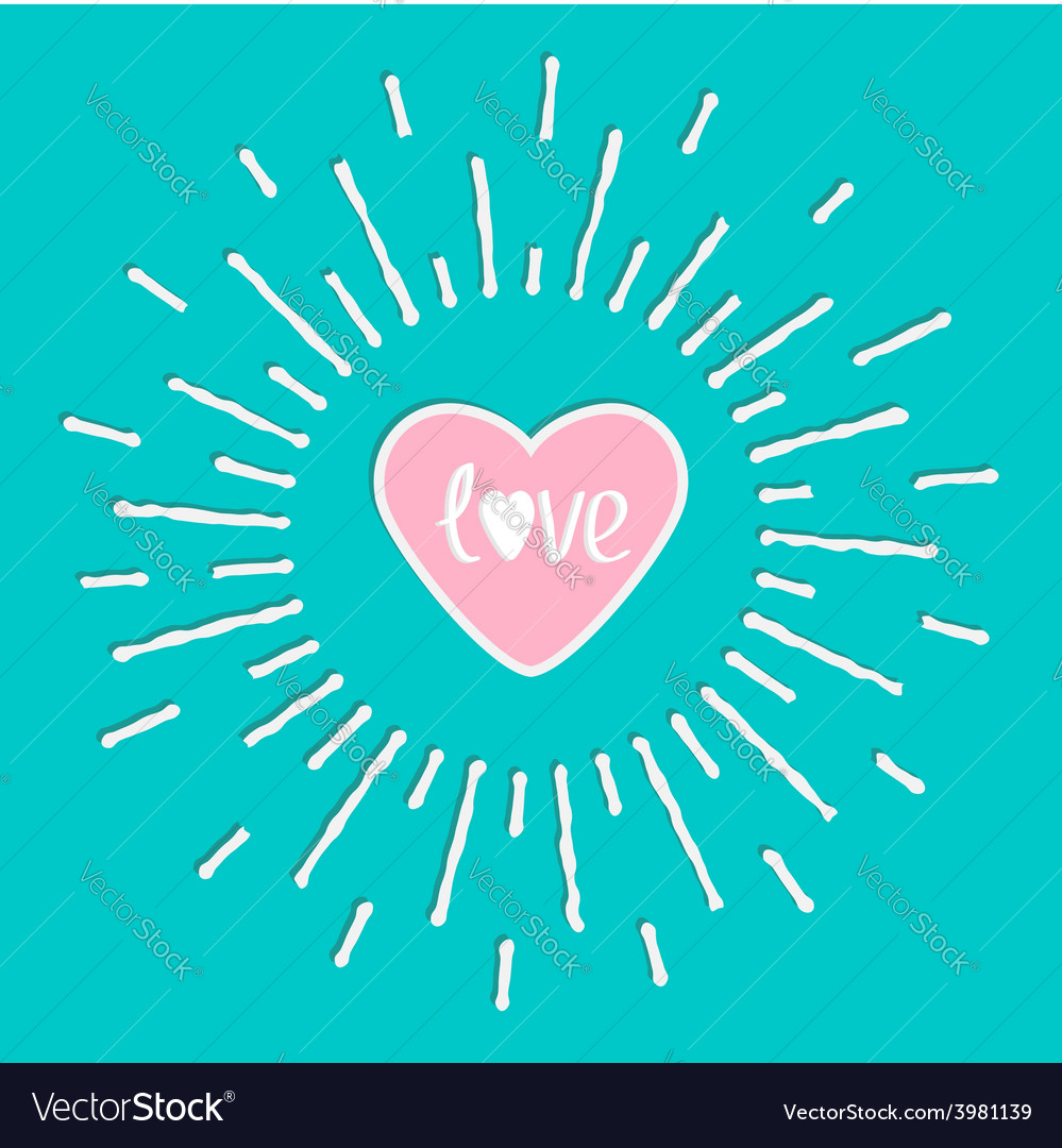 Pink shining heart and word love inside shining vector | Price: 1 Credit (USD $1)