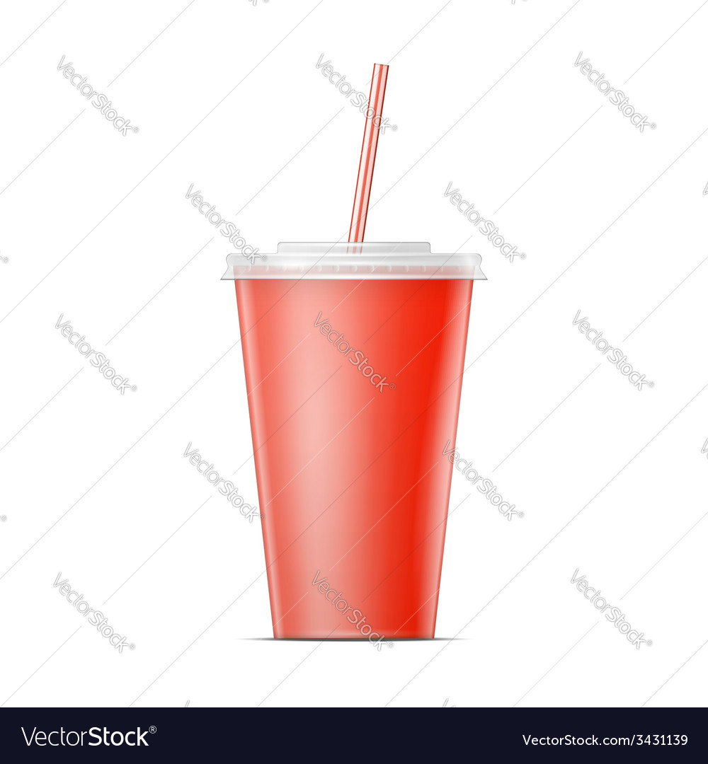 Red paper soda cup template vector | Price: 1 Credit (USD $1)