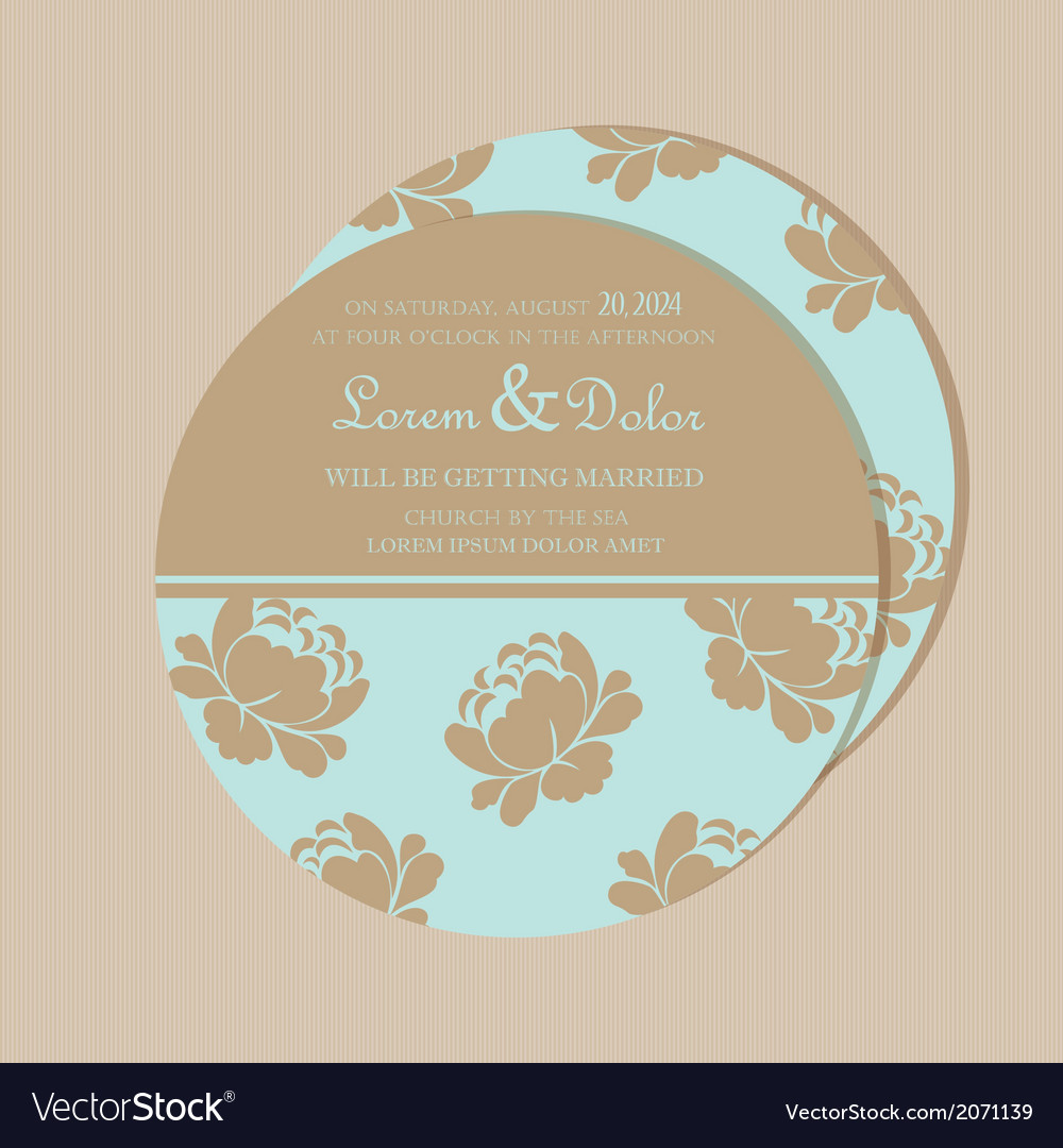 Round invitation card with flowers vector | Price: 1 Credit (USD $1)