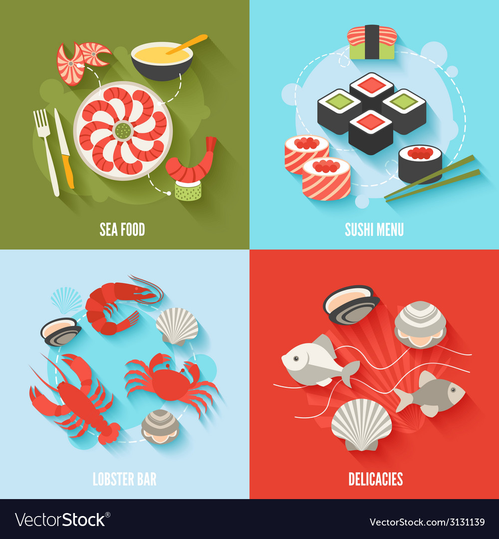 Seafood flat set vector | Price: 1 Credit (USD $1)