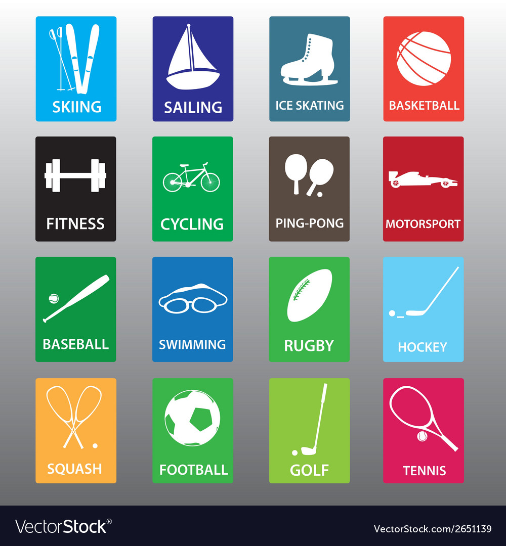 Sport equipment color icon set eps10 vector | Price: 1 Credit (USD $1)