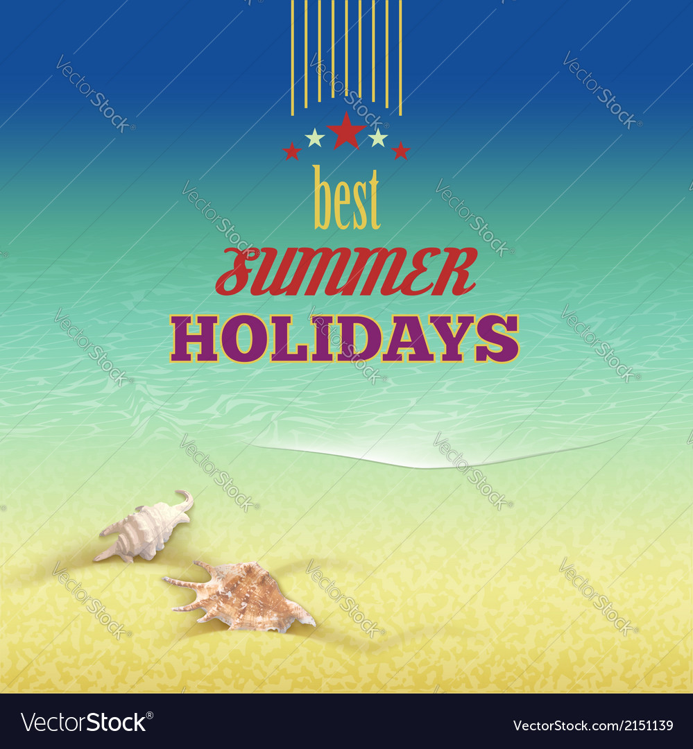 Summer holidays retro style background vector | Price: 1 Credit (USD $1)