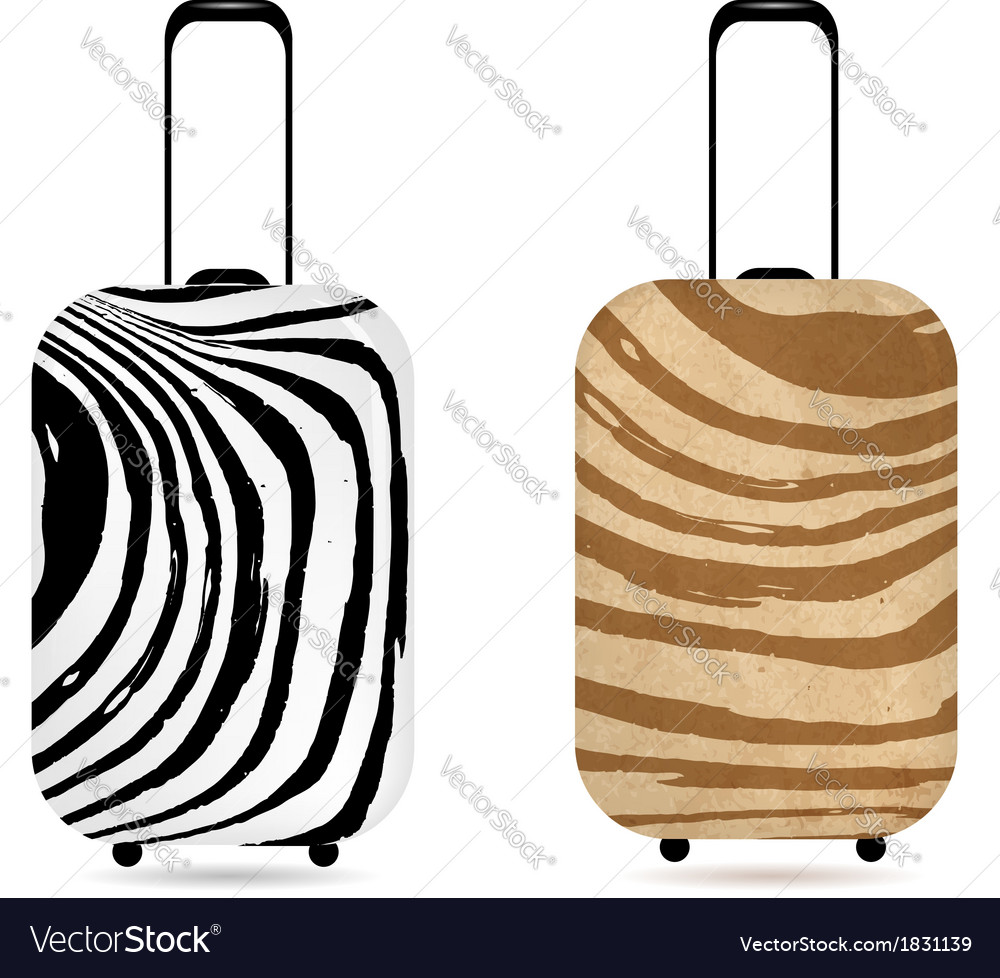 Travel suitcase with zebra print for your design vector | Price: 1 Credit (USD $1)