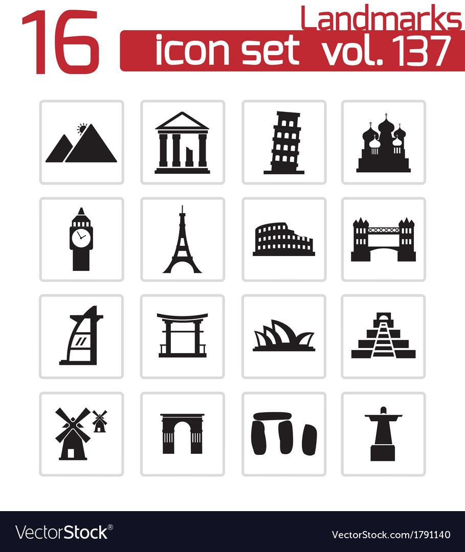 Black landmark icons set vector | Price: 1 Credit (USD $1)