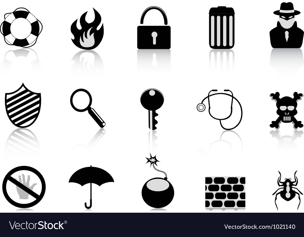 Black security icon set vector | Price: 1 Credit (USD $1)