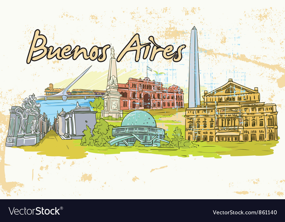 Buenos aires doodles with grunge background vector | Price: 3 Credit (USD $3)