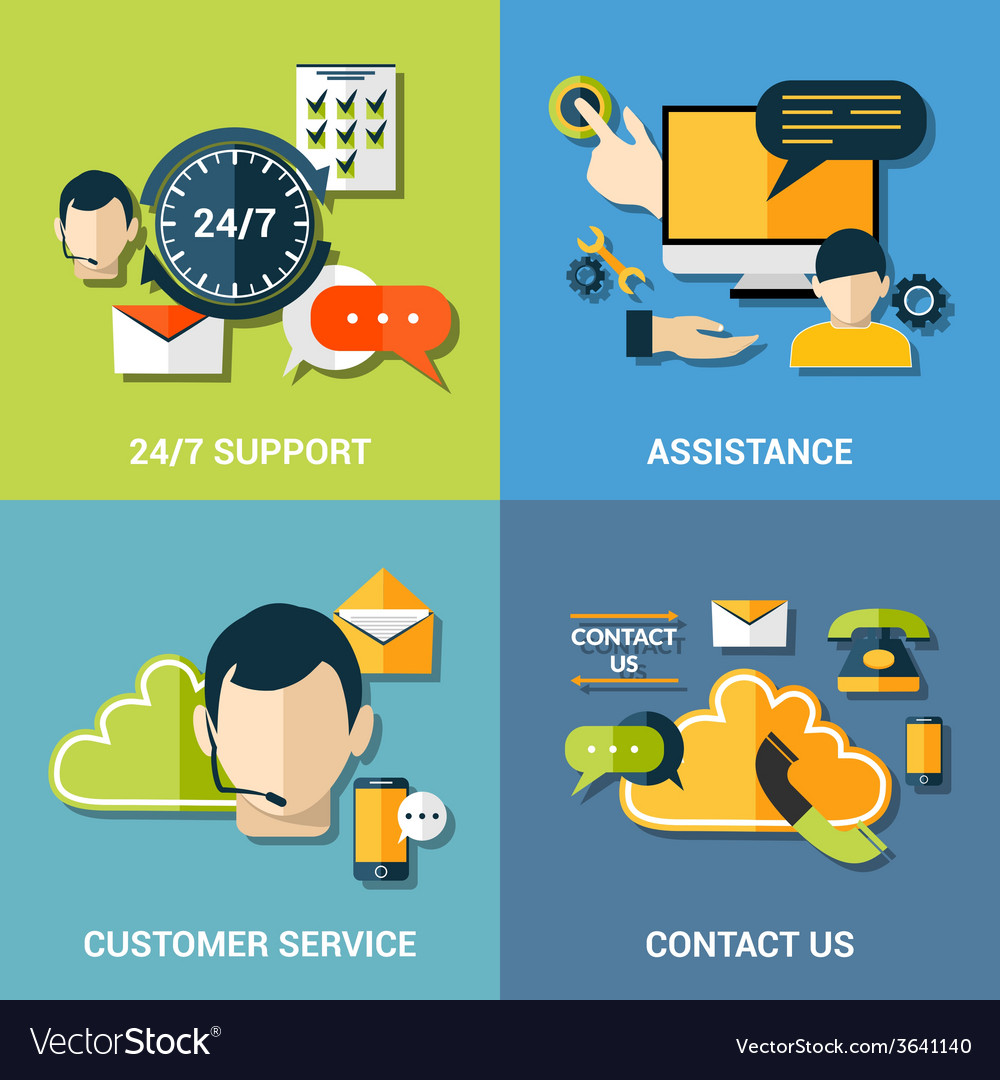 Contact us flat icons composition vector | Price: 1 Credit (USD $1)