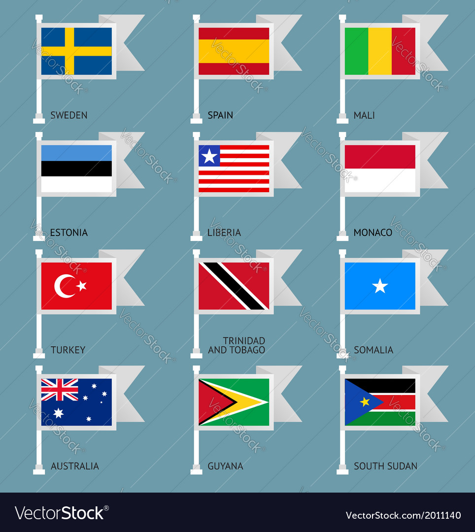 Flags set four-09 vector | Price: 1 Credit (USD $1)