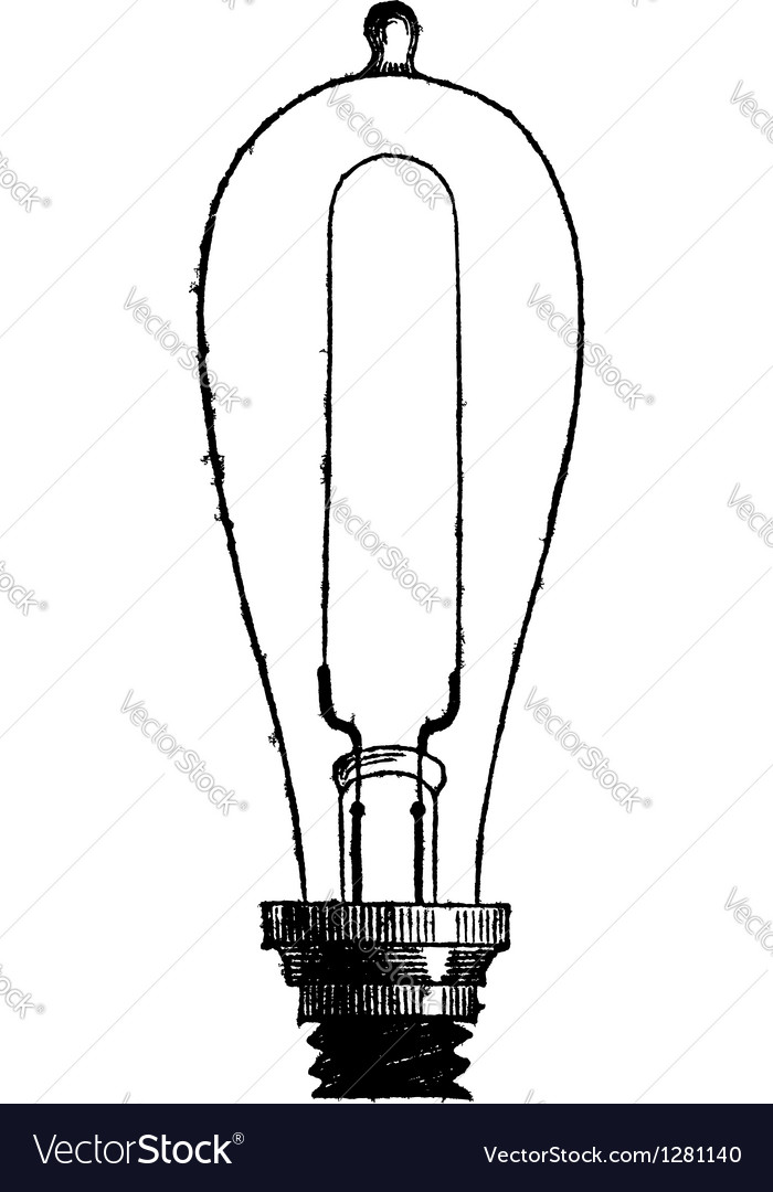 Incandescent lamp vintage engraving vector | Price: 1 Credit (USD $1)
