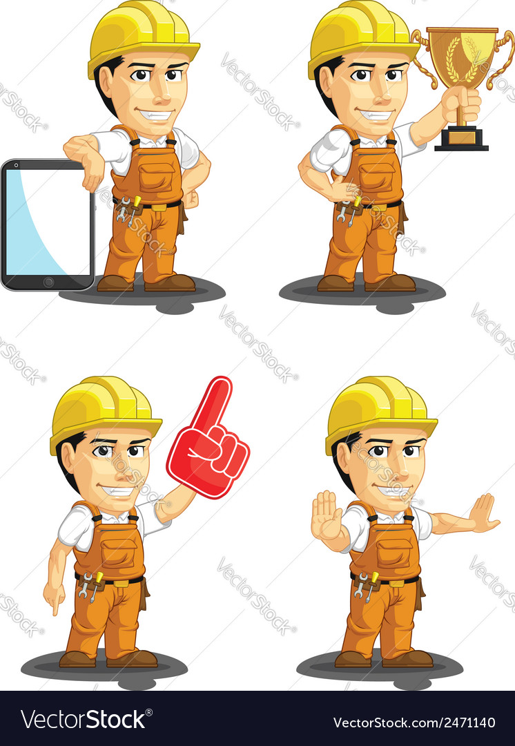 Industrial construction worker mascot 15 vector | Price: 1 Credit (USD $1)