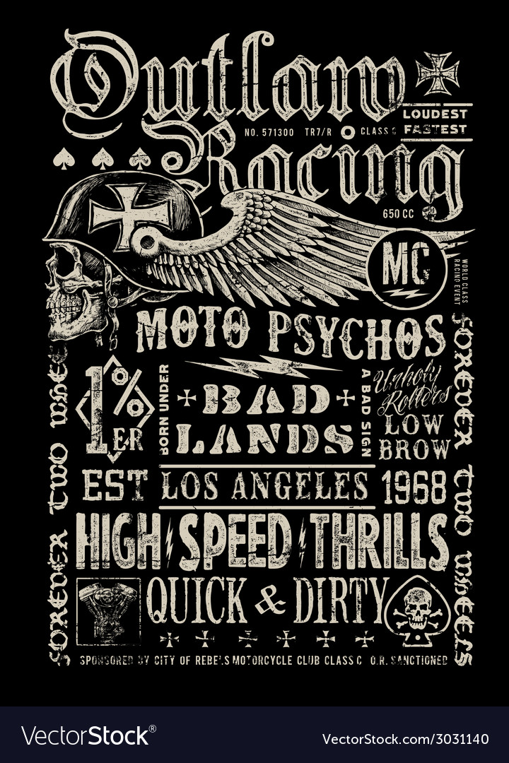 Outlaw racing vintage poster tshirt graphic vector