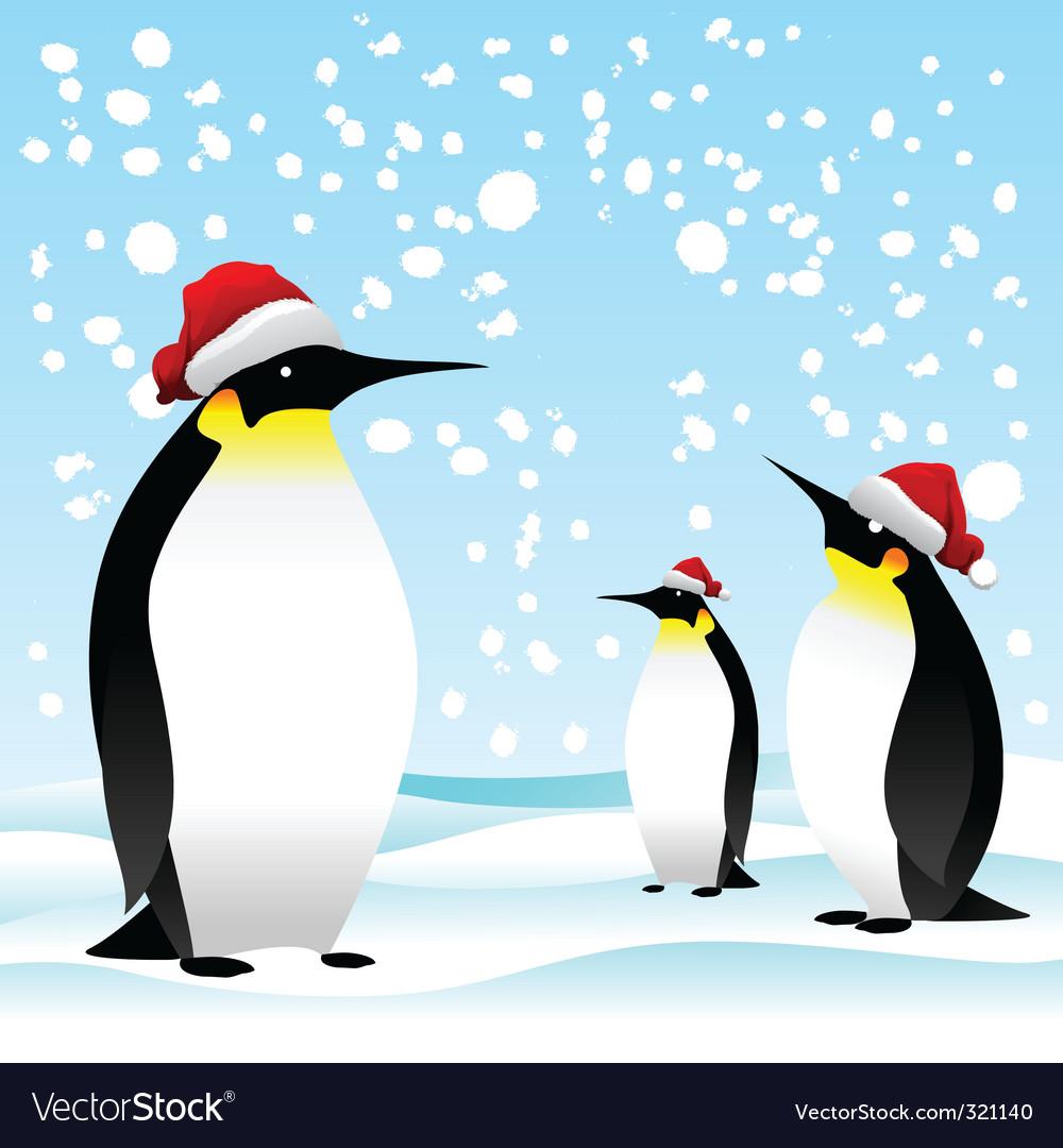 Penguin with noel cap vector | Price: 1 Credit (USD $1)