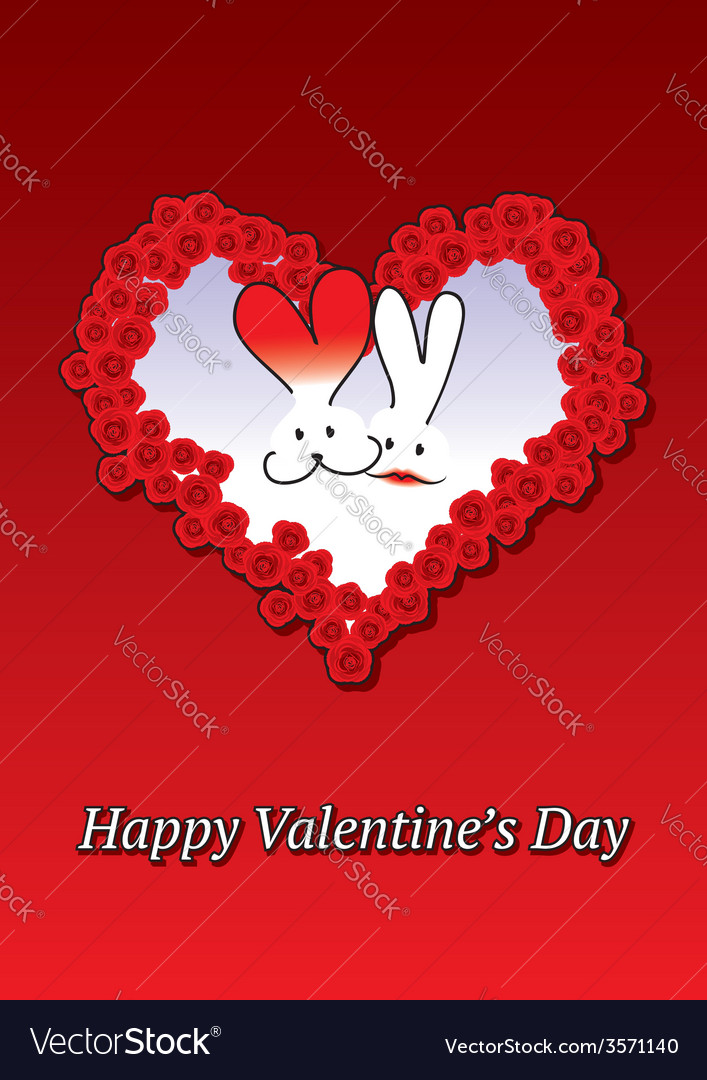 Rabbits couple valentine card vector | Price: 1 Credit (USD $1)