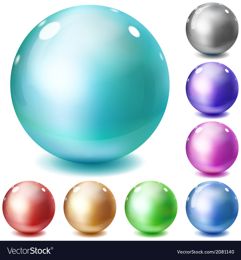 Set of multicolored glossy spheres vector | Price: 1 Credit (USD $1)