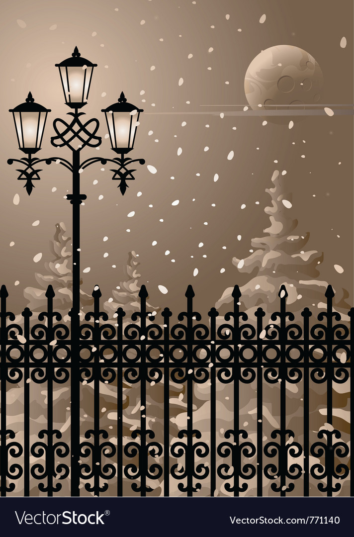 Winter night vector | Price: 1 Credit (USD $1)