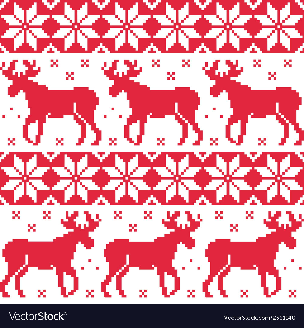 Winter red seamless pattern with reindeer vector | Price: 1 Credit (USD $1)