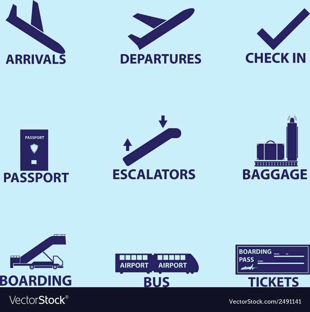 Airport signs icons eps10 vector | Price: 1 Credit (USD $1)