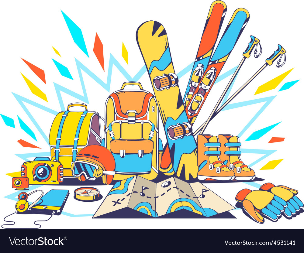 Backpacks and winter travel accessories w vector   Price: 1 Credit (USD $1)