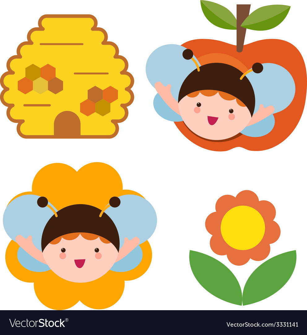 Bee babies set vector | Price: 1 Credit (USD $1)