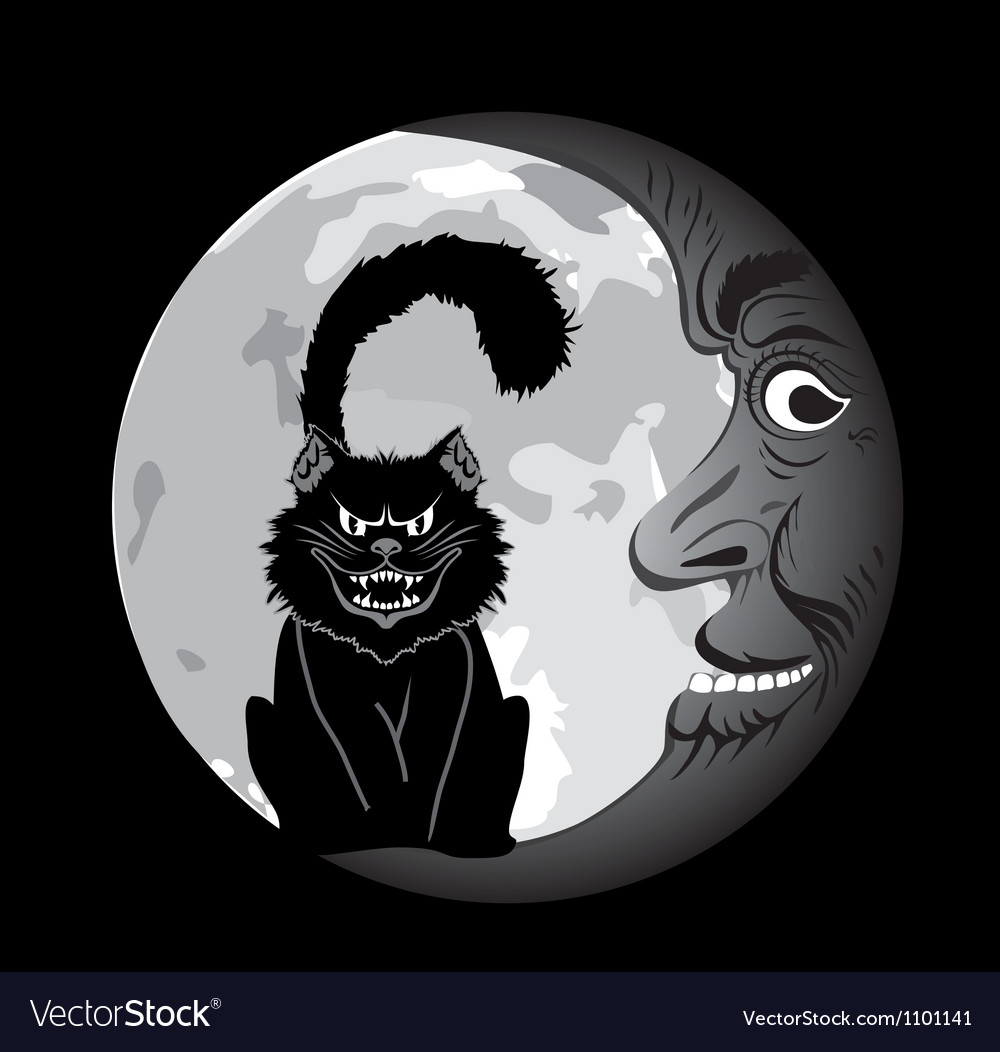 Black cat under the moon vector | Price: 1 Credit (USD $1)