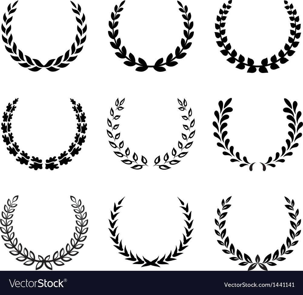 Black laurel wreaths set 2 vector | Price: 1 Credit (USD $1)