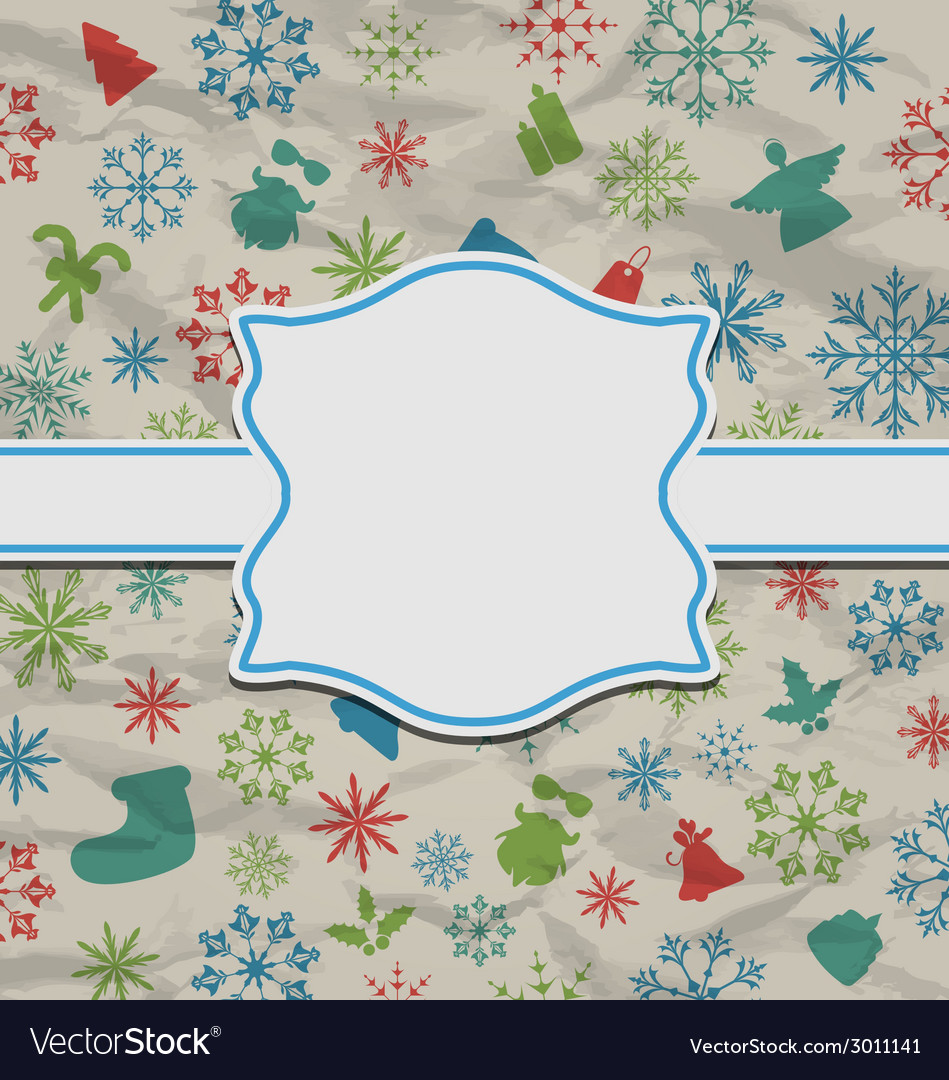 Christmas vintage card on texture with traditional vector | Price: 1 Credit (USD $1)