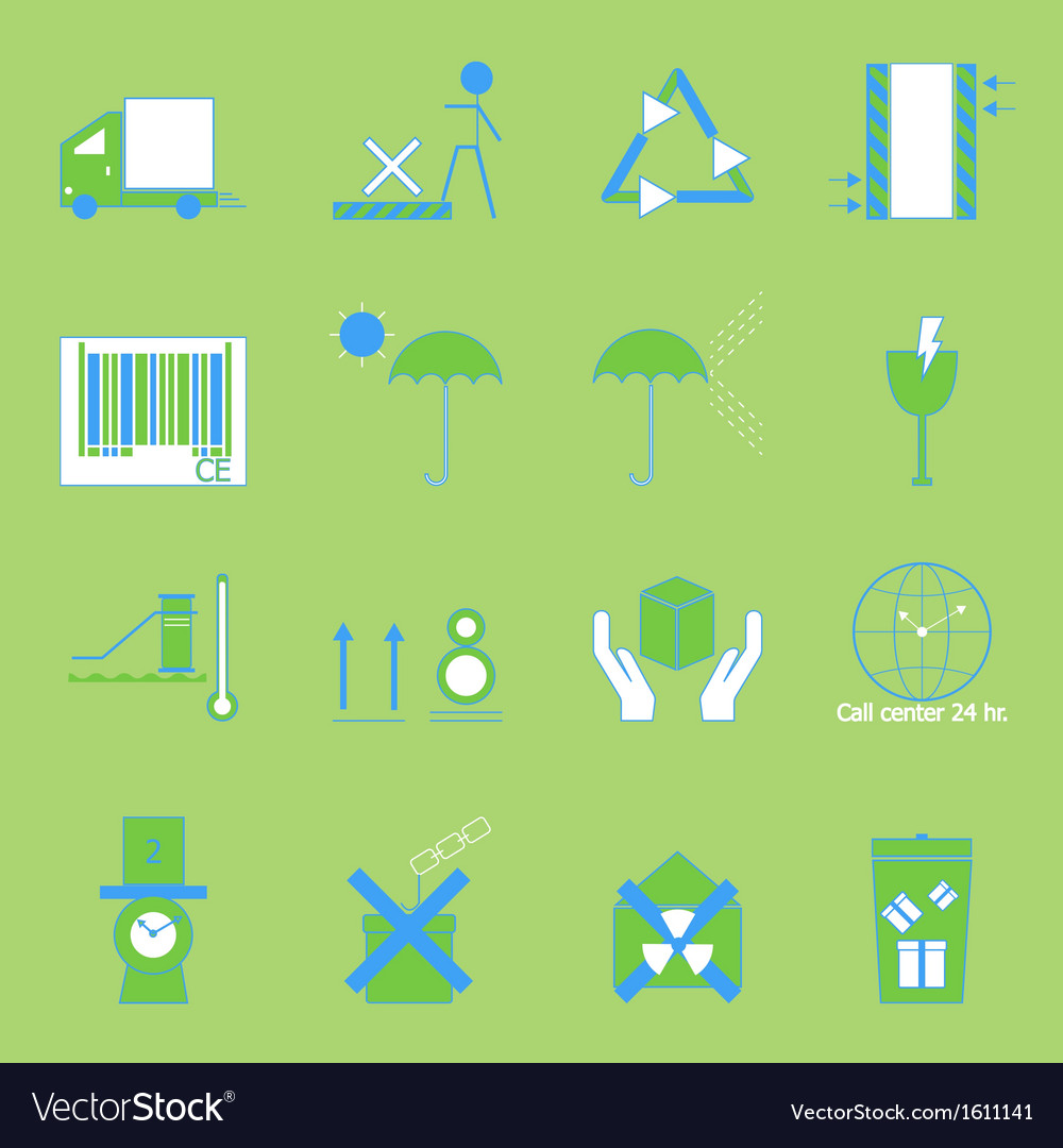 Create parcel color sign on green background vector | Price: 1 Credit (USD $1)