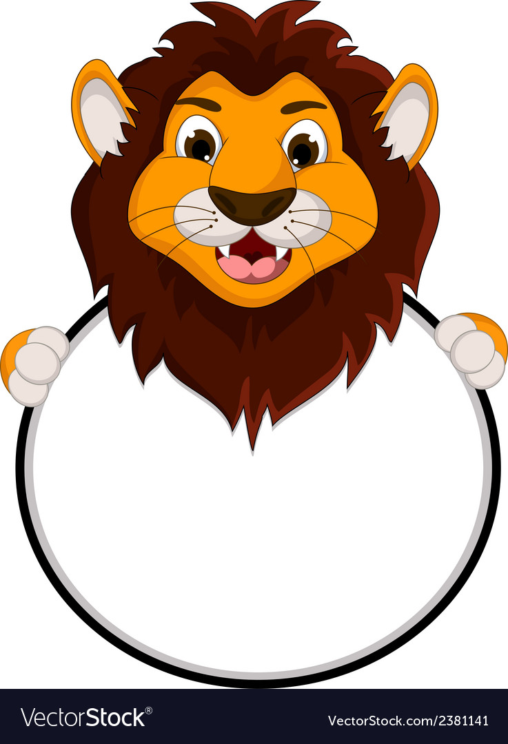 Cute lion cartoon holding blank sign vector | Price: 1 Credit (USD $1)