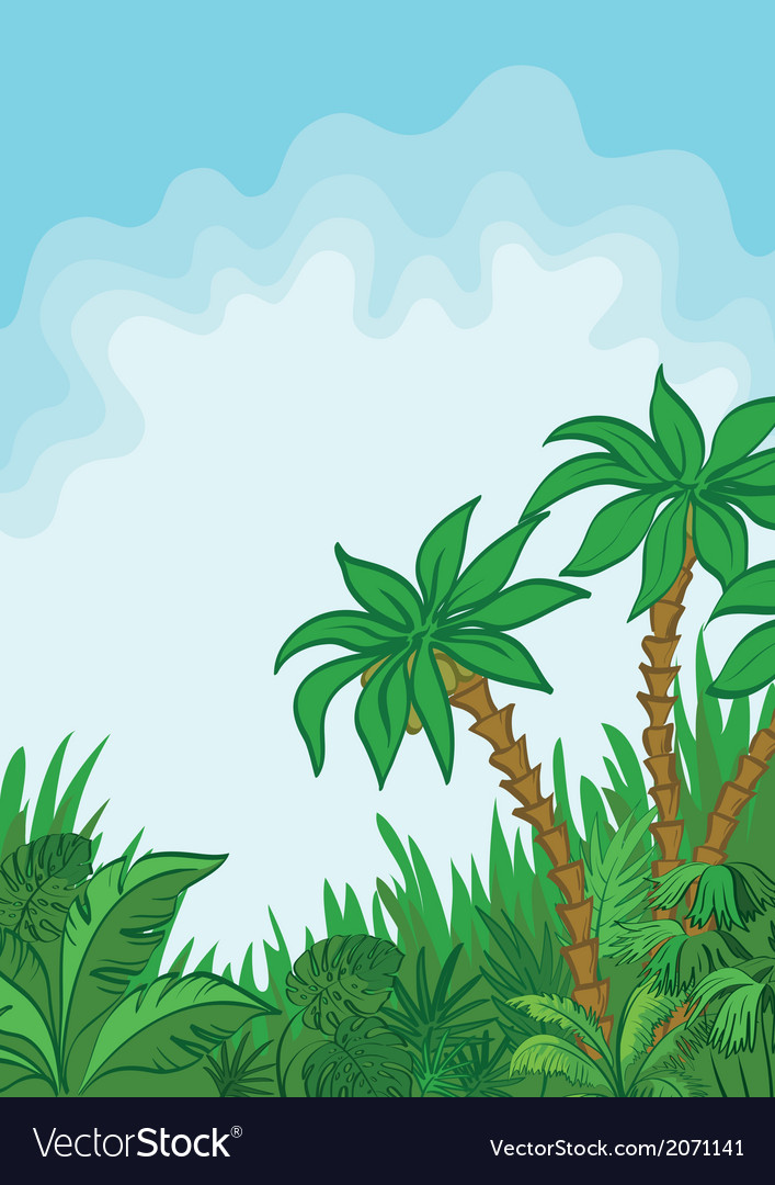 Exotic landscape palm and plants vector | Price: 1 Credit (USD $1)