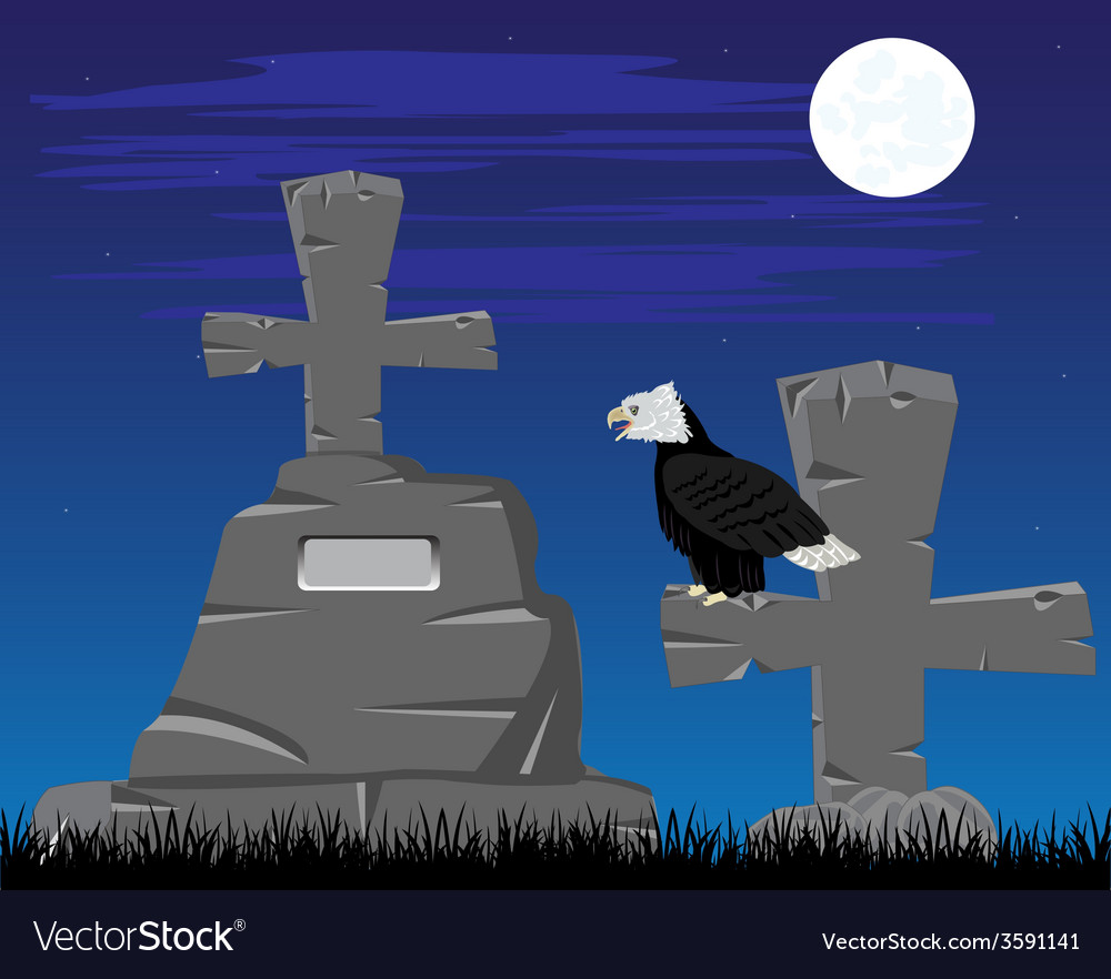 Graveyard in the night vector | Price: 1 Credit (USD $1)