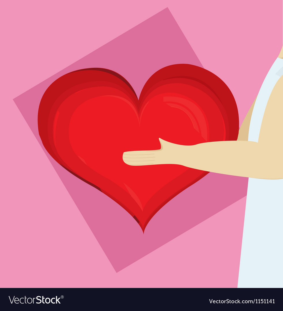 Heart being held by a man vector | Price: 1 Credit (USD $1)
