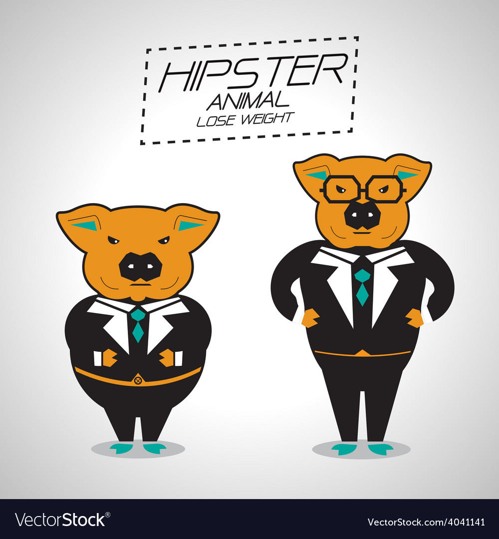 Lose weight pig businessman vector | Price: 1 Credit (USD $1)