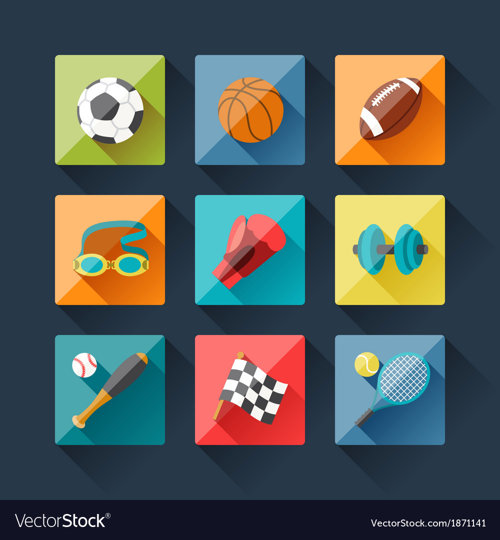 Sport icons set in flat design style vector | Price: 1 Credit (USD $1)