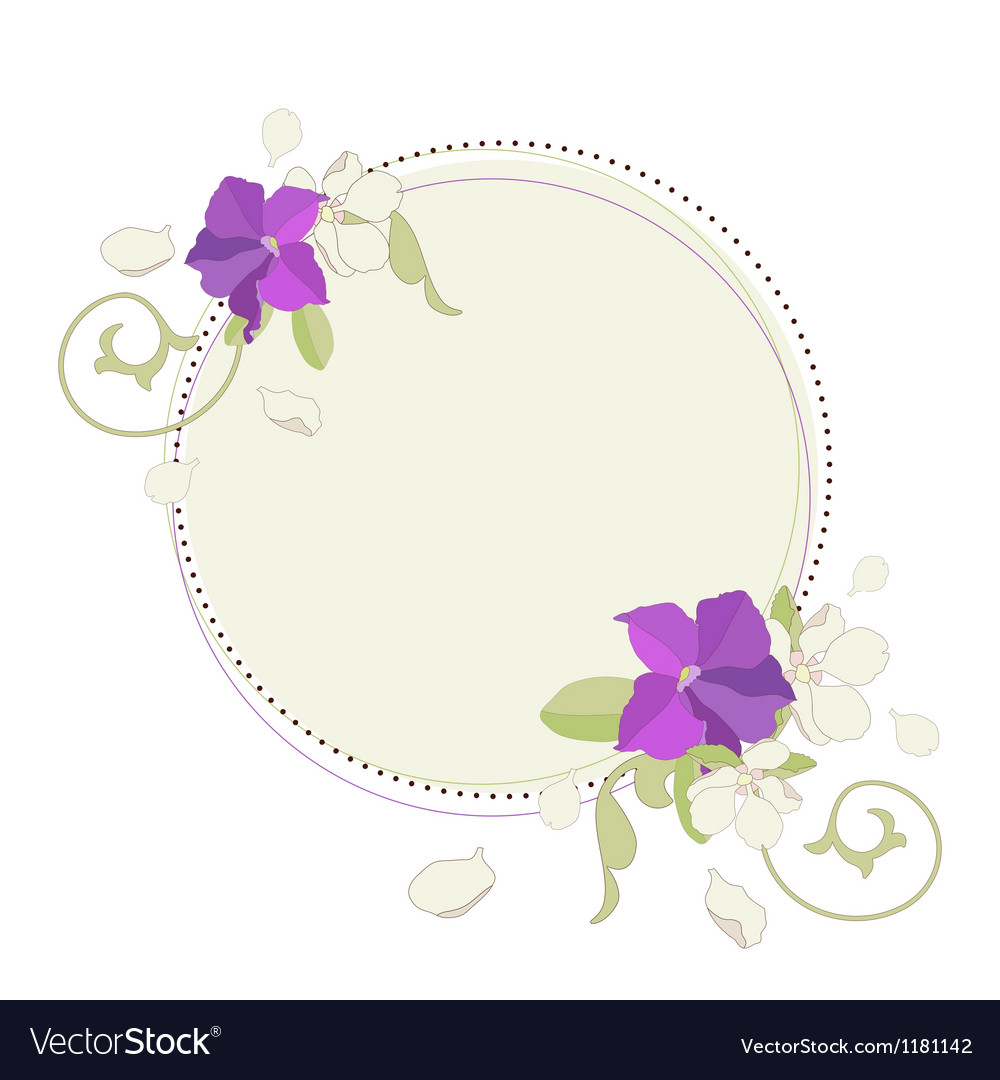 Apple and petunia flowers beautiful fame vector | Price: 1 Credit (USD $1)