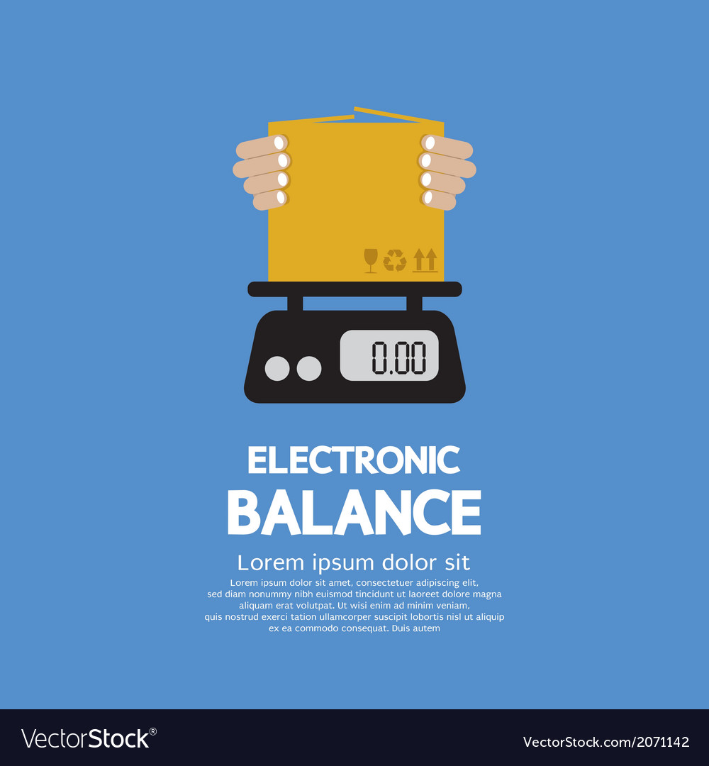Cardboard box in hand on electronic balance vector | Price: 1 Credit (USD $1)