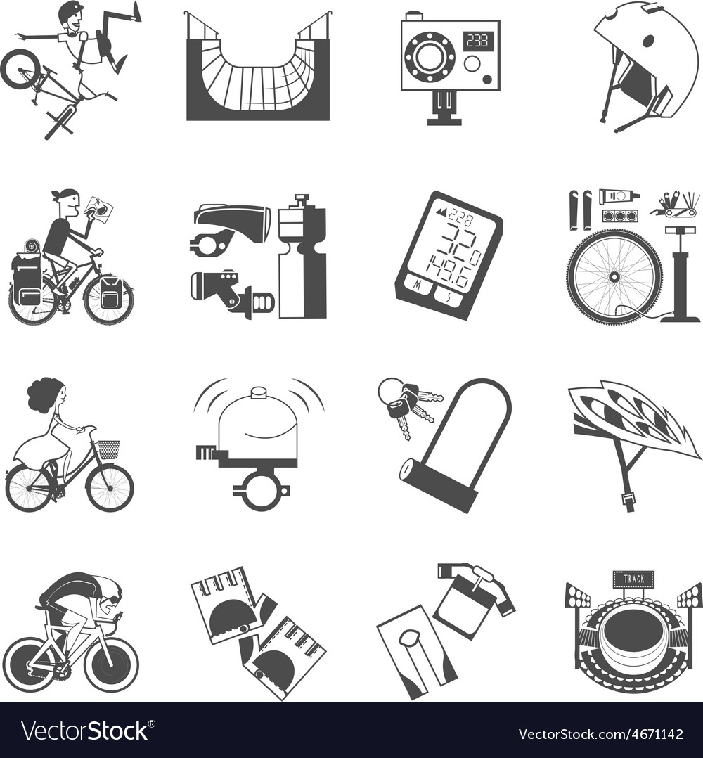 Cycling icon set black vector | Price: 1 Credit (USD $1)