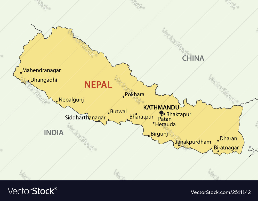 Democratic republic of nepal - map vector | Price: 1 Credit (USD $1)