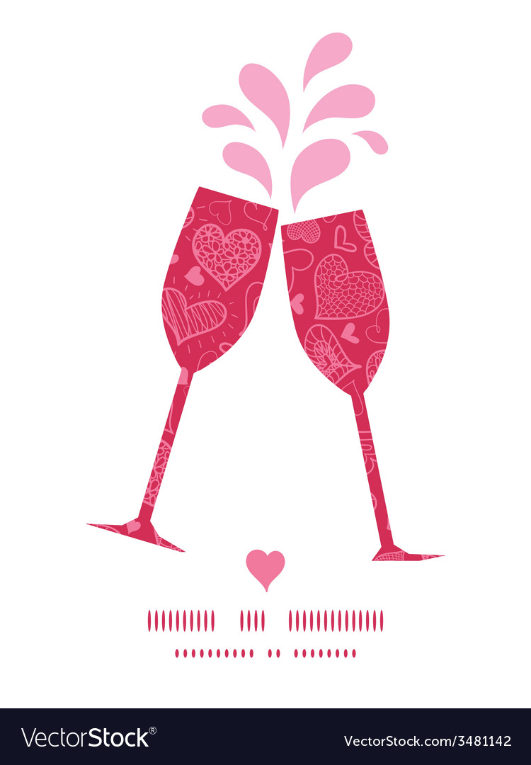 Doodle hearts toasting wine glasses silhouettes vector   Price: 1 Credit (USD $1)