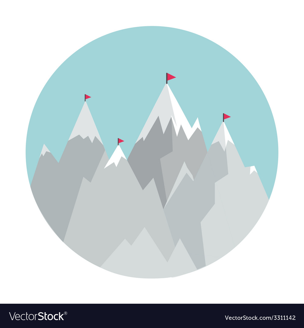 Flat style icon with mountains vector | Price: 1 Credit (USD $1)