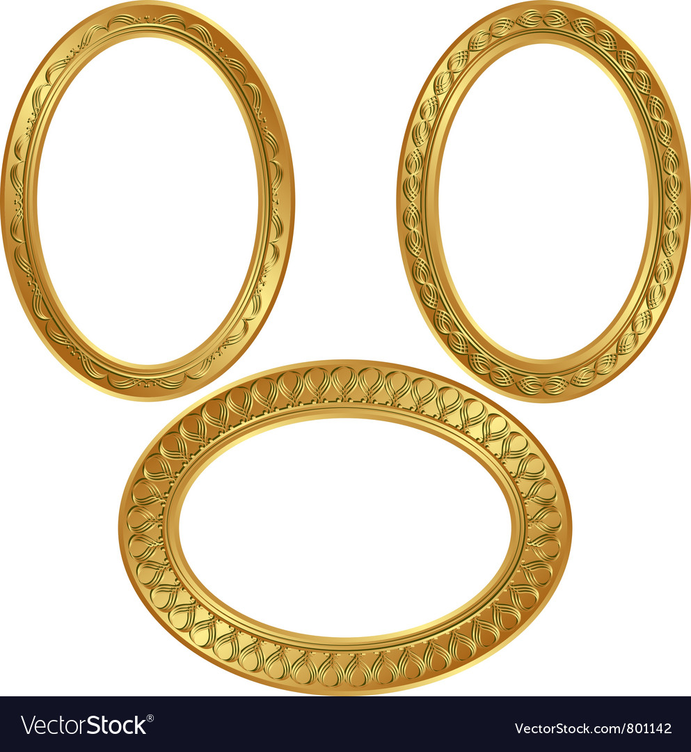 Golden oval frame with ornaments vector | Price: 1 Credit (USD $1)