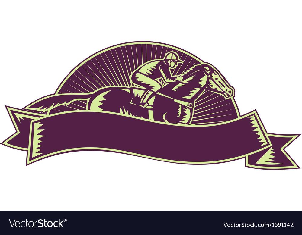 Horse and jockey racing race woodcut vector | Price: 1 Credit (USD $1)