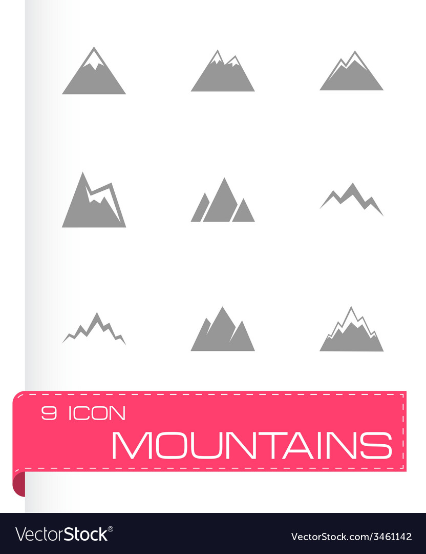 Mountains icon set vector | Price: 1 Credit (USD $1)