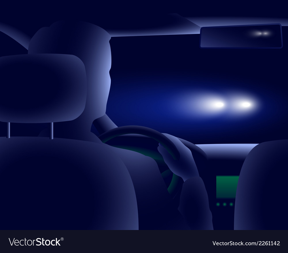 Night road and headlights vector | Price: 1 Credit (USD $1)