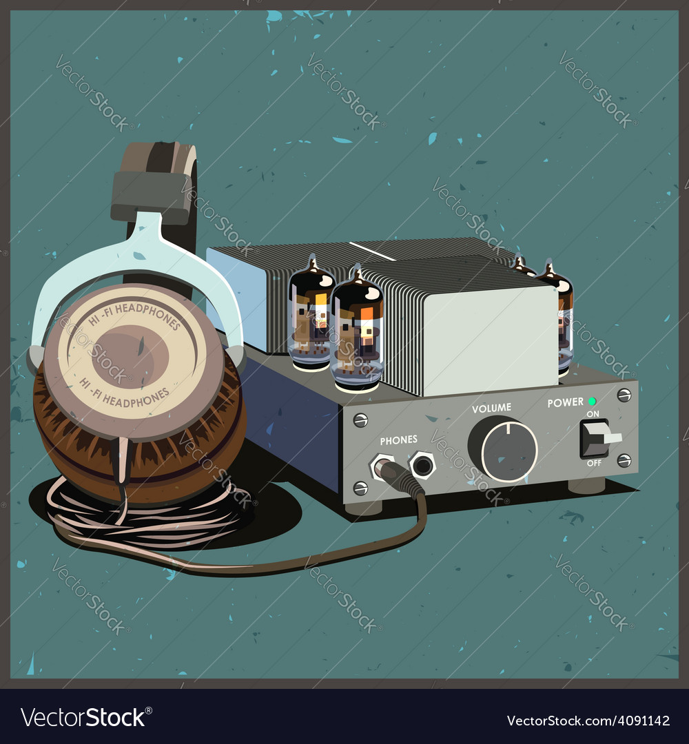 Retro headphones and amplifier vector | Price: 3 Credit (USD $3)