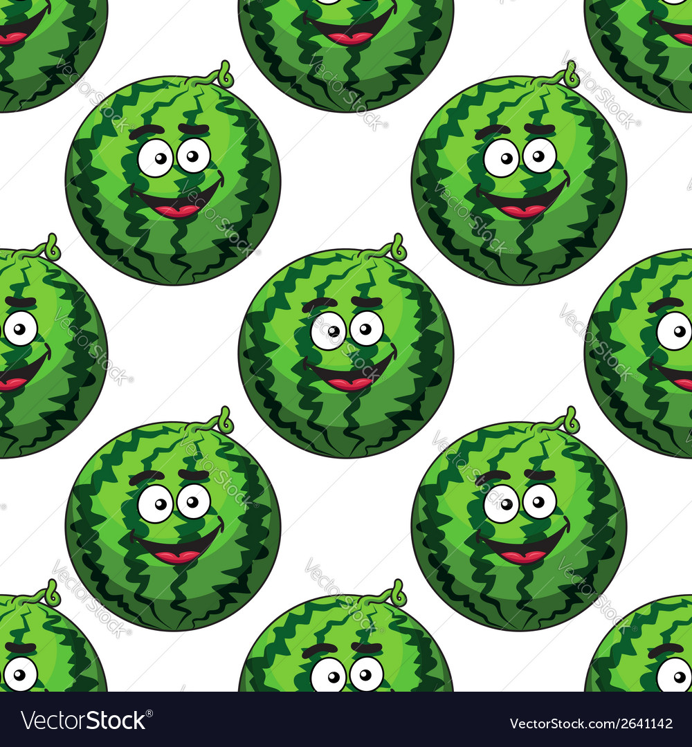Seamless pattern of cartoon watermelons vector | Price: 1 Credit (USD $1)