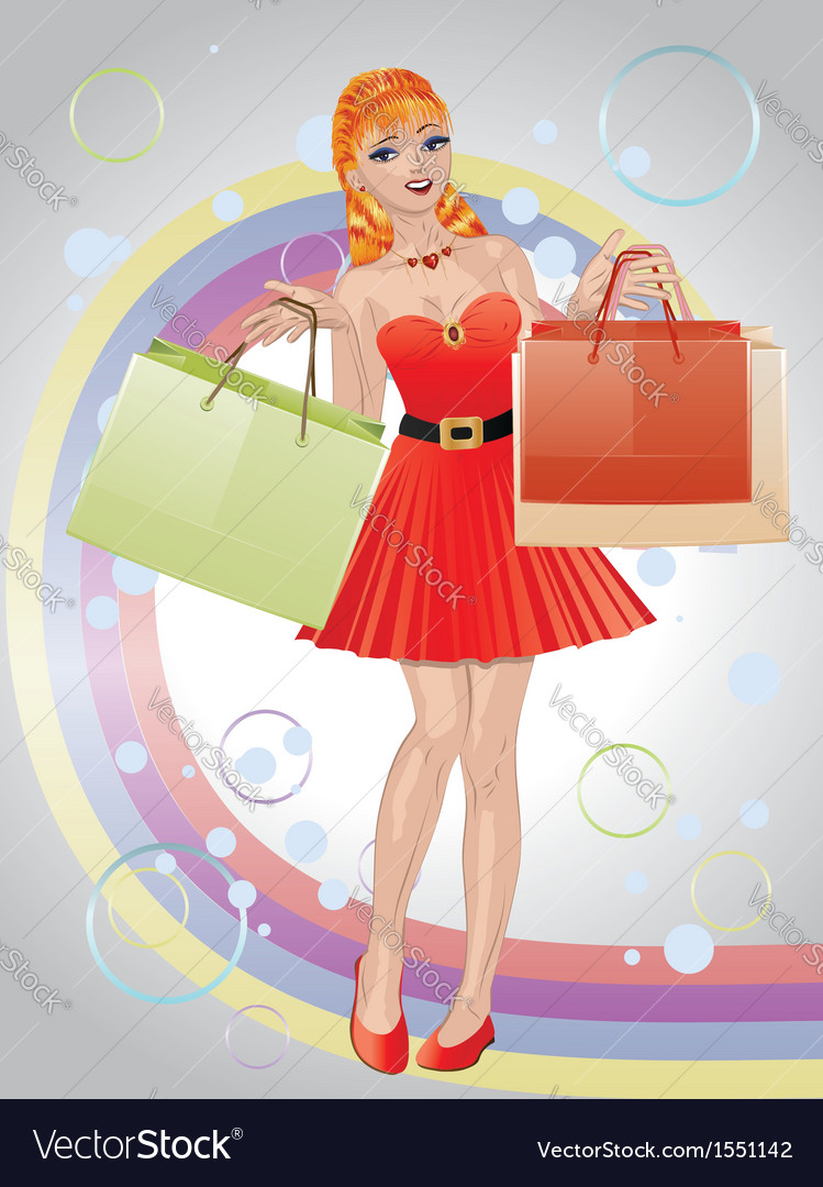 Shopping girl with red hair3 vector | Price: 1 Credit (USD $1)