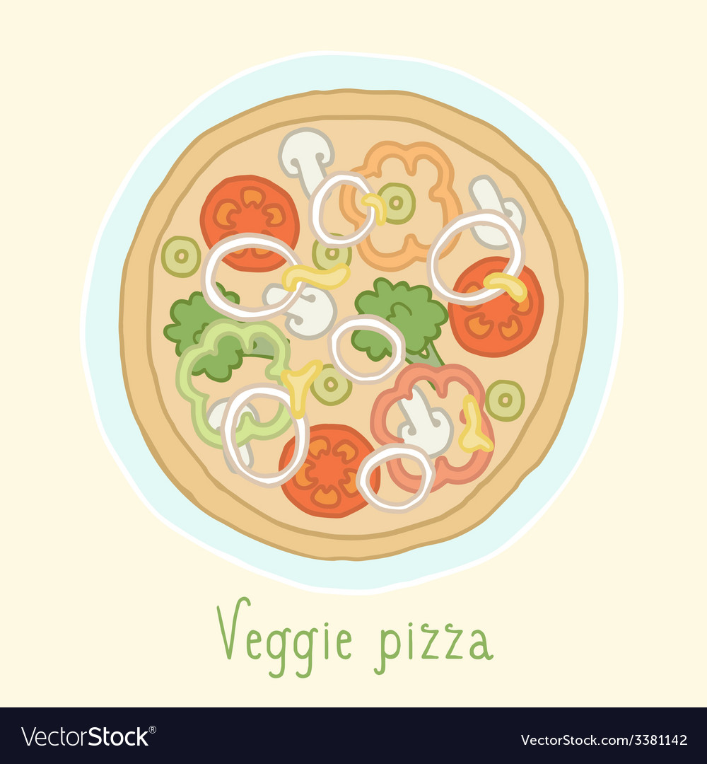 Vegetable pizza vector | Price: 1 Credit (USD $1)