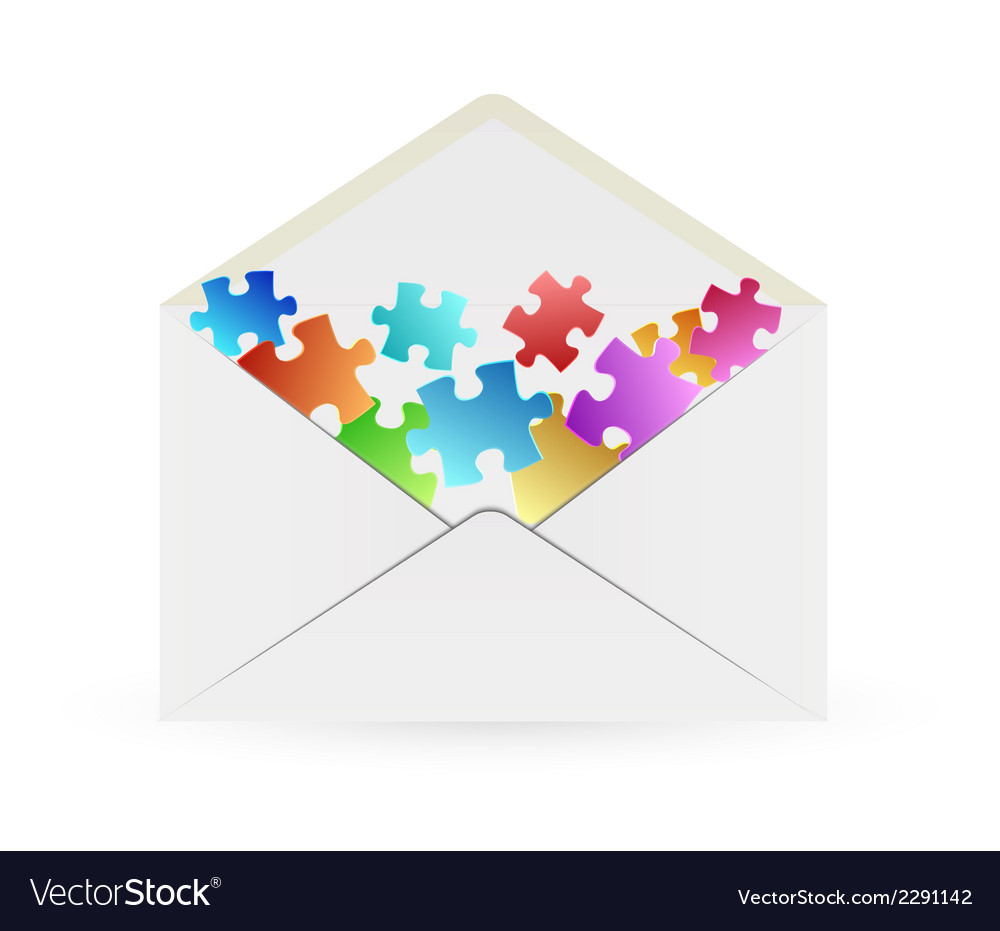 White envelope with puzzle pieces vector | Price: 1 Credit (USD $1)