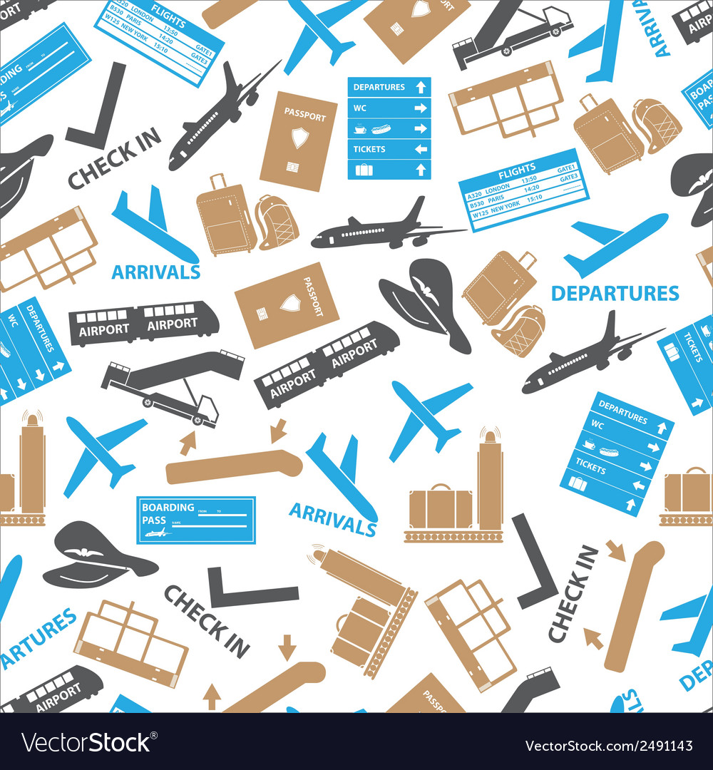 Airport icons color seamless pattern eps10 vector | Price: 1 Credit (USD $1)